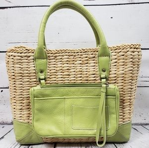 Ann Taylor Green Wicker Woven Leather Cornhusk Bag